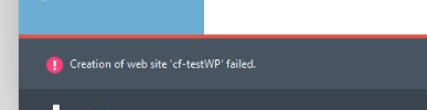 creation of web site cf-testWP failed