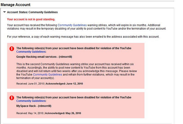 Youtube account lockout